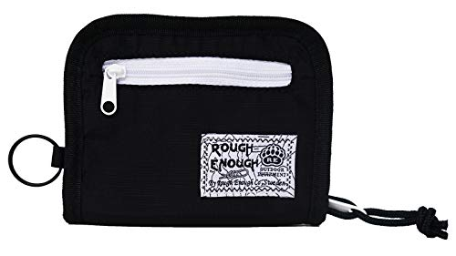 ordura Soft Nylon Full Zippered Sports Outdoor Short Basics Fashion Fancy Small Portable Bi-fold Secure Coin Neck Pouch Wallet Purse Case Credit Card Holder Organizer with Key Ring ()