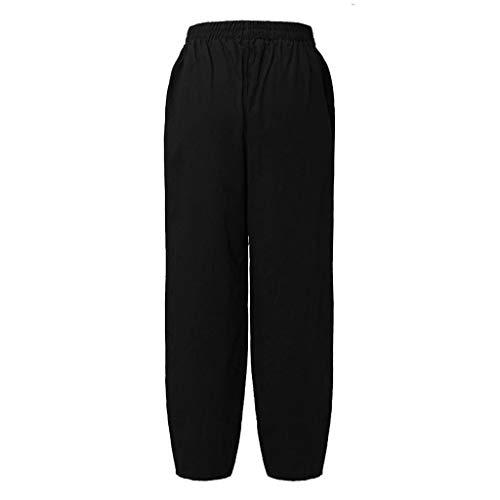Pervobs Women Fashion Loose High Waist Solid Comfortable Elastic Waist Linen Pocket Long Pants Trousers (4XL, Black) by Pervobs Women Pants (Image #3)