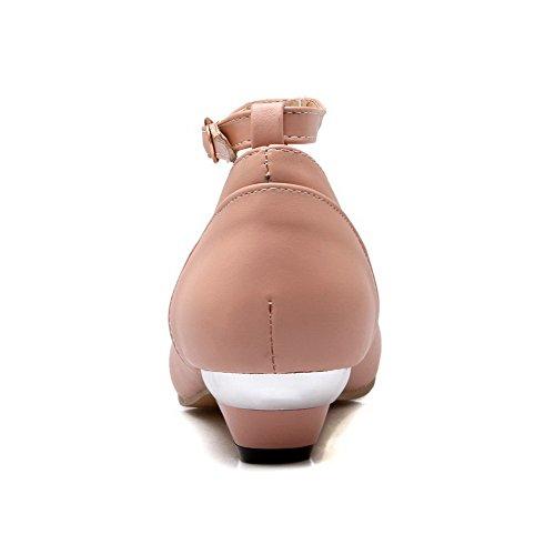 Amoonyfashion Damesgesp Ronde Gesloten Neus Lage Hakken Pu Stevige Pumps-schoenen Met Polsband Roze