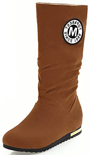 Microsuede Slouchy Boots - Mofri Women's Casual Round Toe Hidden Low Wedge Heel Pull on Slouchy Mid Calf Boots (Brown, 6 M US)