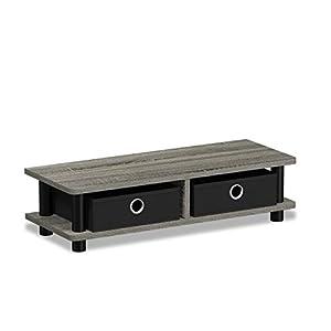 FURINNO 17099GYW/BK Turn-N-Tube Monitor Stand French Oak Grey/Black