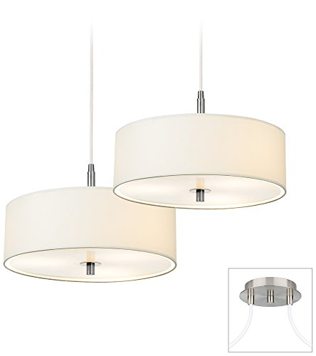 Possini Euro Contemporary White Drum Double 2-Light Pendant - Euro White Chandelier