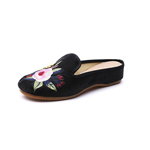 Vetado big Zapatillas Hogar Zapatillas flower NGRDX Oxford Zapatos Retro Open Planas Diapositivas black Bordados Sandalias Zapatos Señoras Zapatillas Zapatillas amp;G Señoras X08w0Uq