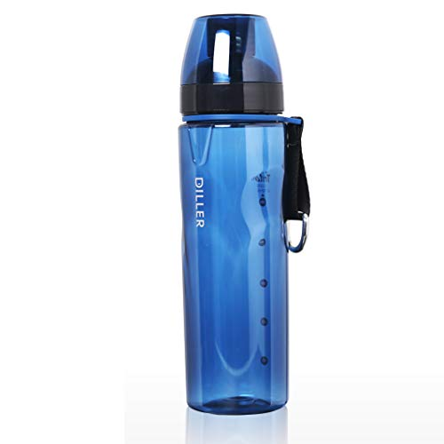 Diller Bullet Sport Water Bottle,BPA-Free Tritan Plastic Water Bottle -24 Oz Bottle - Cycling,Running,Outdoors,Hiking,Yoga and Camping (Blue)