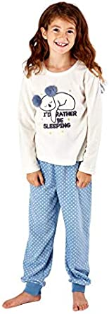 Apparel Girls Fleece Pyjamas Ria Round Neck Embroidered Warm Cuff Leg Pants Lounge Wear