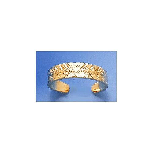 14k Gold Adjustable Starburst Center & Leaf Trim Toe Ring (Ring Starburst Adjustable)