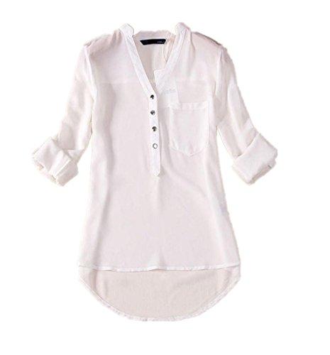 À shirt Longues V ❤️chemises Manches Chemise Amlaiworld Mousseline Blouse Femme Chemisier T Blanc Été neck Printemps En Décontractée q76wft6