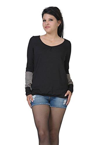 negro manga para de damas Camisa larga casual elfos 3 gris F8pxx7q