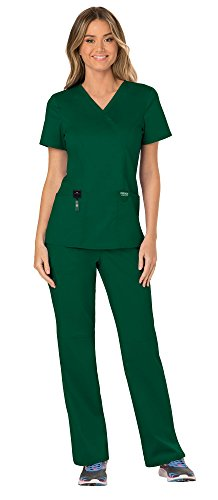 Cherokee Workwear Revolution Women's Medical Uniforms Scrubs Set Bundle - WW610 Mock Wrap Scrub Top & WW110 Pull On Scrub Pants & MS Badge Reel (Hunter Green - Medium/Medium) -