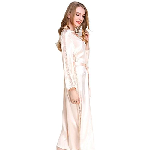 JZLPIN De las Mujeres Largo Cordón Dressing Gown Kimono Túnica Ropa de Dormir Sleepwear Bata de baño Champagne: Amazon.es: Ropa y accesorios