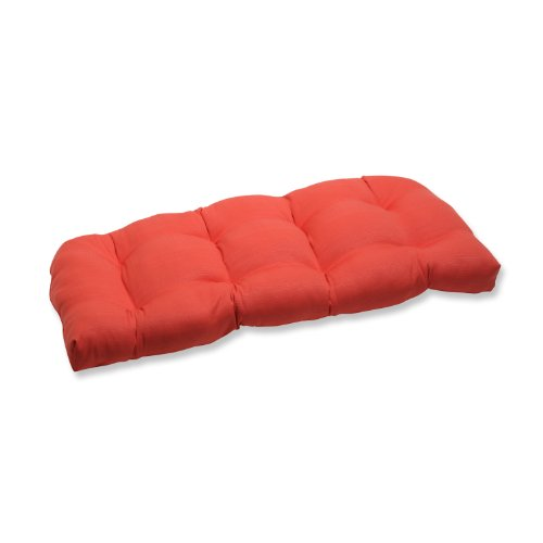 Pillow Perfect Outdoor Forsyth Coral Wicker Loveseat Cushion