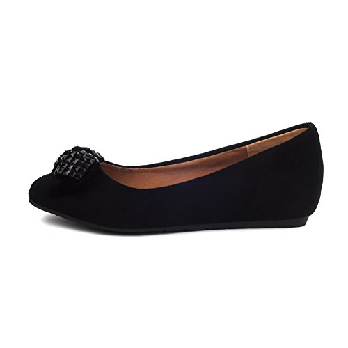 VogueZone009 Womens Closed Toe Pointed Toe Low Heels Suede Frosted Solid Pumps with Bowknot, Black, 3 UK
