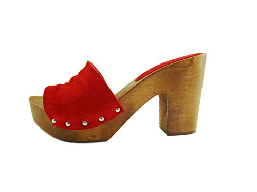 Silfer Shoes - Zuecos de Piel para mujer negro negro taglia unica Rosso-Marrone