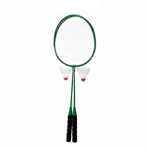 DECOQ Badminton Set Steel Badminton Rackets Durable Badminton Racquet Replacement Set with 2 Badmiton Shuttlecocks Ideal (Green)