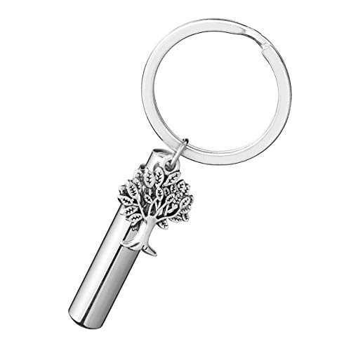 PiercingJ Personalized Engraving Name Stainless Steel Keychain Tree of Life & Cylinder Capsule Locket Cremation Urn Key Ring Keepsake Memorial Ashes Filler Jewelry