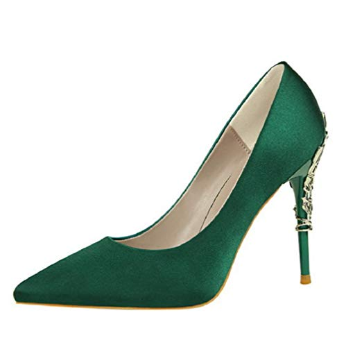 p On Pointed Pumps Toe Fashion Simple Stiletto Super High Heel Satin Sexy Closed-Toe Ladies Party Dress High-Heeled Shoes,Green,40 ()