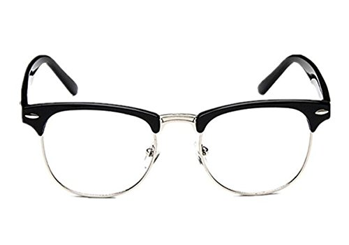 a01b6f210b4 Amazon.com  Malcolm X Horn Rimmed Glasses Frames Black Silver Browline  Vintage Hipster NEW  Clothing