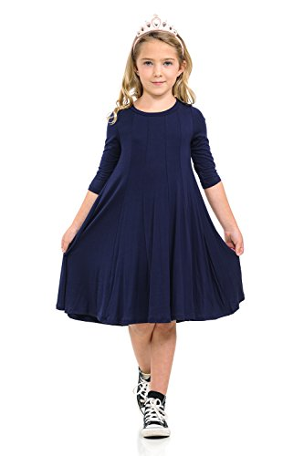 Blue Stretch Dress - Honey Vanilla Girls' A-Line Trapeze Dress Small 5-6 Years Navy
