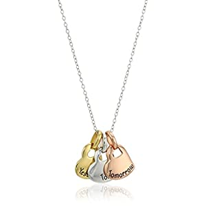 """Hallmark Jewelry Sterling Silver Tri-Color Today, Tomorrow, Yesterday Pendant Necklace, 18"""""""