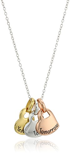 Hallmark Jewelry Sterling Silver Tri-Color Today, Tomorrow, Yesterday Pendant Necklace, 18""