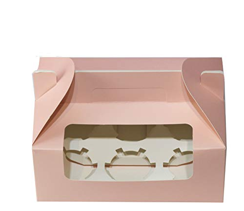 9 inch x 5.9 inch x 3.5 inch Cupcake Boxes Cupcake Box with Handle Cupcake Gift Boxes for 6 Container with Display Window Cupcake Packaging Boxes Cupcake Containers (Pink,25 PCS) by Sahara Home