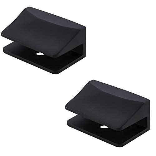 Adjustable Frameless Rectangle Glass Shelf Bracket Holder Heavy Duty Clamp Shelf Clip,Stainless Steel 304,Matte Black ()