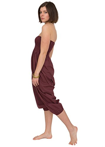 [Cotton Harem Pants Bandeau Jumpsuit Romper (One Size Regular, Burgundy)] (Genie Outfit)
