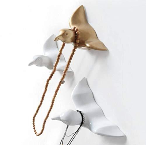 BERTERI 1Peice 3D Resin Swallow Birds Wall Hook Creative Wall Decoration Craft for Home Livingroom Bedroom Hat Coat Hanger ()