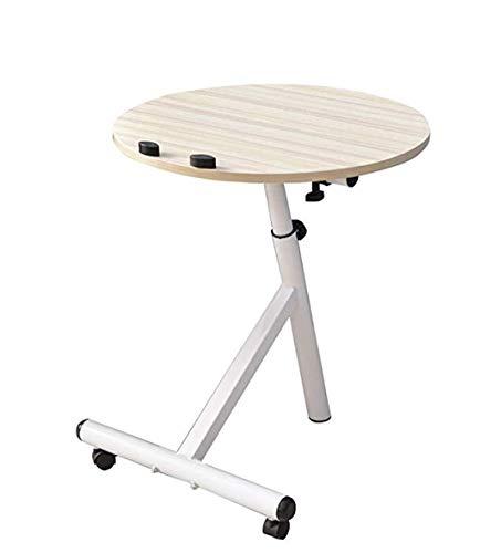 Portable Removable Laptop Stand Desk Cart Round Computer Desk Workstation,Adjustable Height,60° Swivel and 180° Tilt,Lockable Casters,White Maple Color