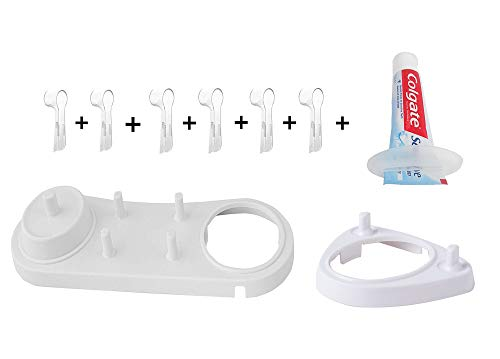 FOURCHEN Toothbrush Heads Holder Set Include 4 pcs Oral-B Electric Heads Cover - Head Stand for Oral-B Electric/Philips Heads Holder +1 Tool for Squeeze Toothpaste