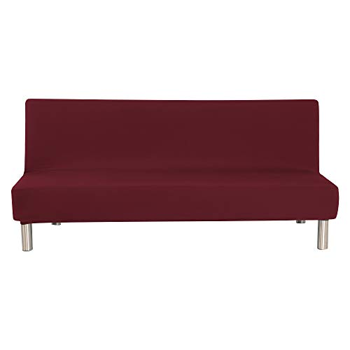 WATTA Solid Color Futon Cover Slipcover Couch, Polyester Spandex Stretch Bed Cover Replacement,Futon Mattress Cover, Futon Mattress Protector - Wine Red - 51