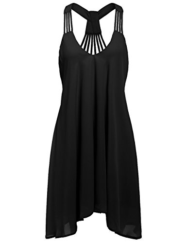 ROMWE Women's Summer Sexy Sleeveless Strappy Swing Dress Black L
