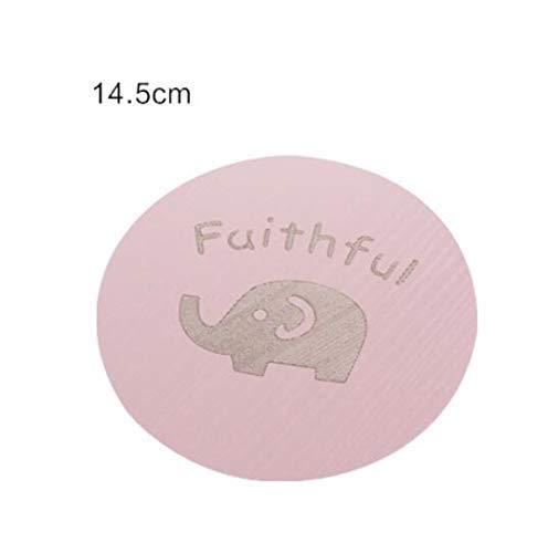 Yetta Home Matte Wooden Creative Cartoon Table Mat Isolierung Tee Coaster_Pink M 14.5cm