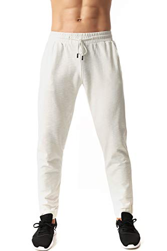 ICON Mens Jogger Pant Summer Weight, Drawstring Bamboo Cotton Fabric (White, Large)