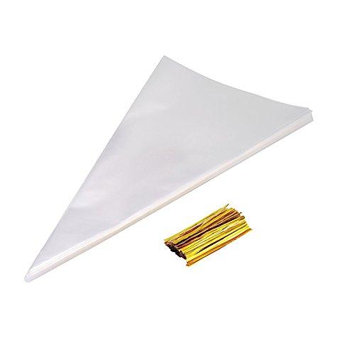 rosenice 100pcs Sacchetti di cono trasparente di cellophane con Sommerlier dorati
