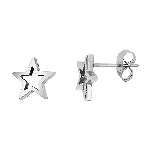(Small Stainless Steel Star Stud Earrings 3/8 inch)