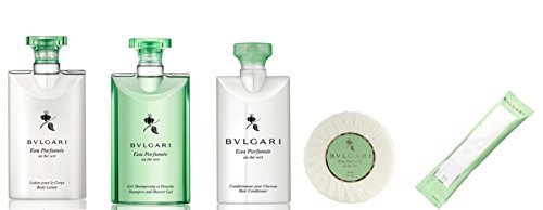 Bvlgari Au The Vert (Green Tea) Travel and Gift Set - Shampoo & Shower Gel, Conditioner, Body Lotion, Soap and - Green Bag Bvlgari
