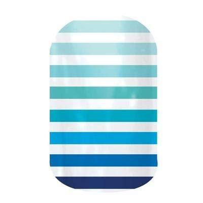 - Jamberry Nail Wraps - Neptune - Full Sheet - Blue Ombre Stripes on White...