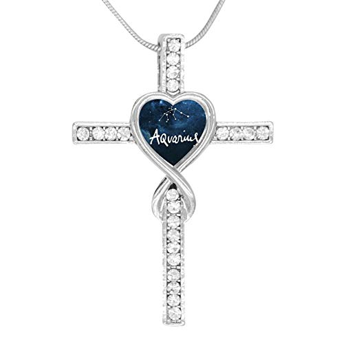 KBogirl Aquarius Love Heart Cross Necklace Religious Belief Jewelry Enamel Pendant Necklace