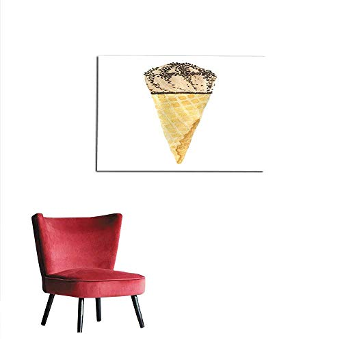 (homehot Art Decor Decals Stickers Watercolor Chocolate ice Cream with Chocolate Sprinkles in Waffle Cone Mural 28