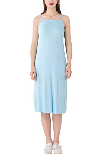 (MMissy Women's Cotton Basic Strap Seamless Base Layering Short Cami Slip Dress Blue )