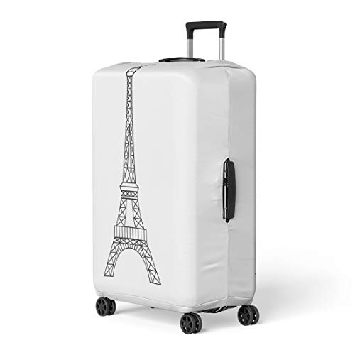 Pinbeam Luggage Cover Eifel Eiffel Tower in Paris France Abstract Architecture Travel Suitcase Cover Protector Baggage Case Fits 22-24 inches ()