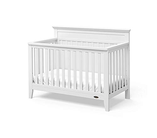(Home Décor Georgia 4-in-1 Convertible Crib (White) Easily Converts to Toddler Bed Daybed and Full-Size Bed 3-Position Adjustable Mattress Support Base Rustic Style Deluxe Premium Collection)