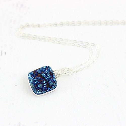 Dark Blue Druzy Geode Sterling Silver Necklace Jewelry Gift - 18