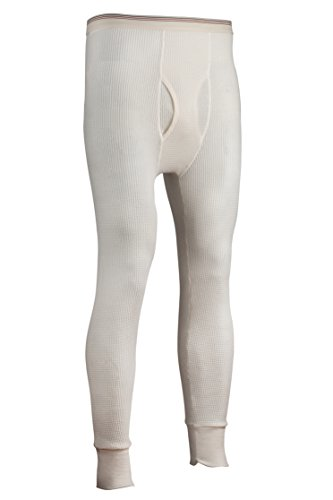 Indera Men's Traditional Long Johns Thermal Underwear Pant, Natural, Medium (Bottoms Knit Thermal Natural Underwear)