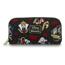 Loungefly Disney Female Villains & Roses Evil Queen Maleficent Cruella Wallet - Queen Of Hearts Purse