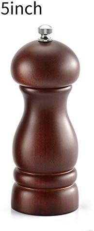 胡椒 ミル木製手動ペッパーミル、調整可能なセラミックコア付きの調味料、クラシックな海塩グラインダーセット、キッチン調理器具、5および8インチダーク