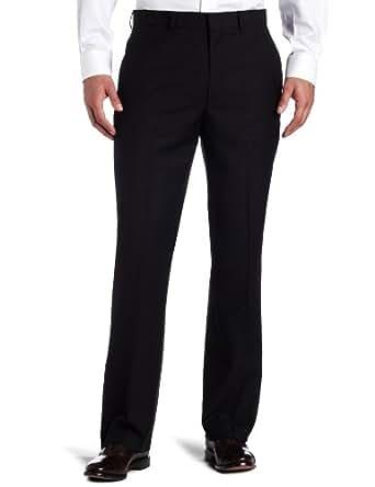 Kenneth Cole REACTION Men's Black Solid Suit Separate Pant, Black, 30x30