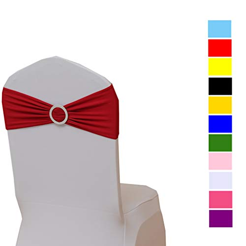 Fvstar 10pcs Chair Sahses Bows Decorative Elegant Wedding Chair Sashes Elastic Spandex Party Chair Cover Bows Ties Bands Chair Ribbons with Buckle for Event Baby Shower Birthday Banquet,Red