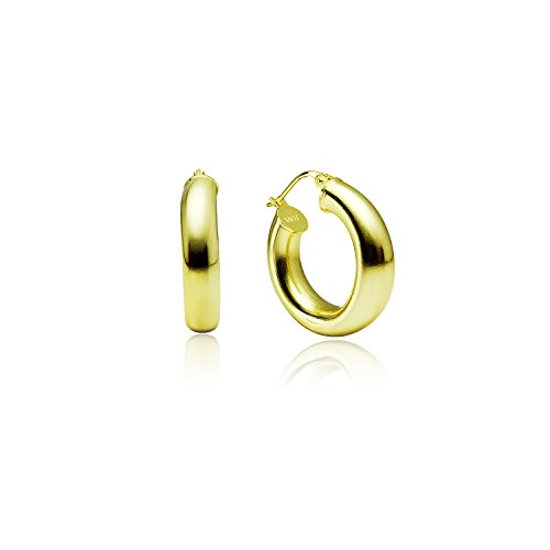 LOVVE Yellow Gold Flashed Sterling Silver High Polished Round-Tube Click-Top Hoop Earrings, 5x20mm